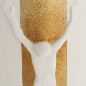 Crocefisso Stele argilla bianca oro con luce 29,5 cm s3