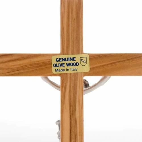 Crocifisso da tavolo dorato legno olivo e metallo argentato s4