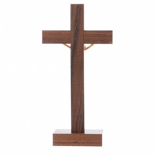 Crocifisso da tavolo moderno in legno di noce e olivo corpo metallo 21 cm s3
