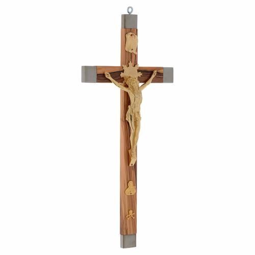 Crocifisso dei sacerdoti ulivo e acciaio dorato 36x19 s2