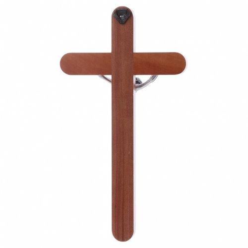 Crocifisso moderno in legno di pero arrotondato 21 cm corpo metallico s3
