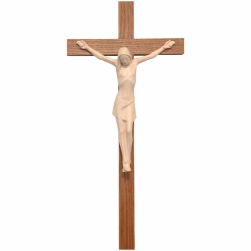 Crocifisso stilizzato legno Valgardena naturale cerato s1