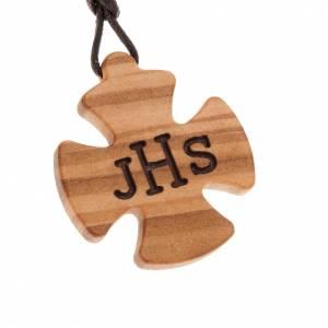 Croix bois d'olivier JHS gravé s1