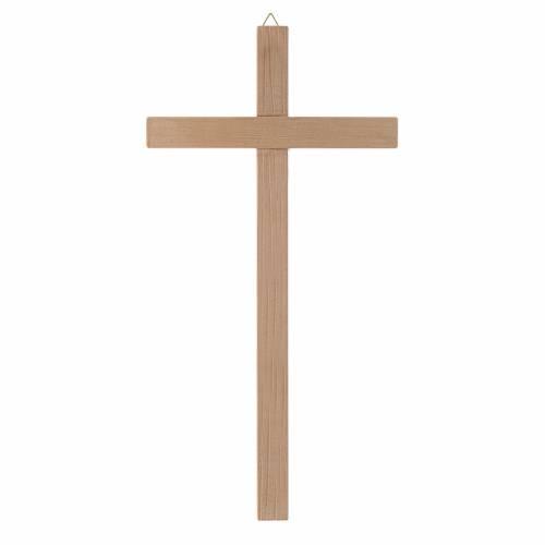 Croix droite, taillée en bois naturel s1