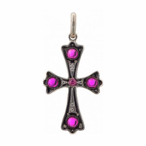 Croix en argent 925 et pierres rouges s1