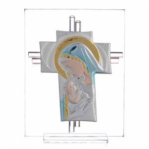 Bonbonnières: Croix Naissance verre Murano bleu et argent h 14,5 cm