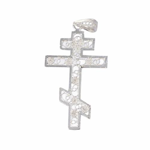 Croix orthodoxe filigrane d'argent 800 s1