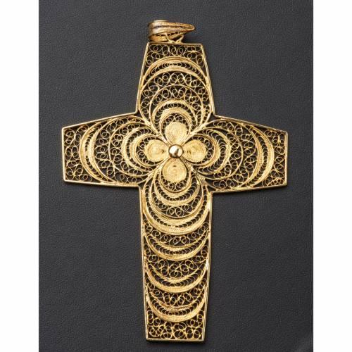 Croix pectorale filigrane argent 800 fleur s4