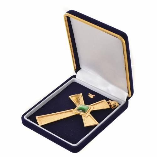Croix pour évêque argent 925 doré avec malachite s3