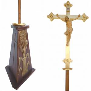 Croix procession bois h 220 cm avec base symbole épis s1