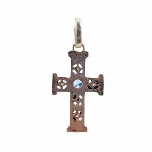 Croix romane en argent 925 et pierres s3