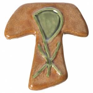 Croix tau avec Chi-Rho marron vert céramique s1