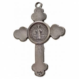 Croix trilobée Saint Benoît en zamac émaillé noir 4,8x3,4 cm s2