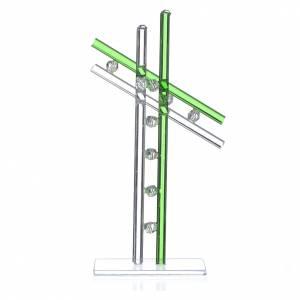 Bonbonnières: Croix verre Murano vert h 16 cm