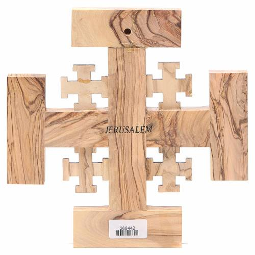 Cross Jerusalem olive wood & earth from Palestine 19cm s2
