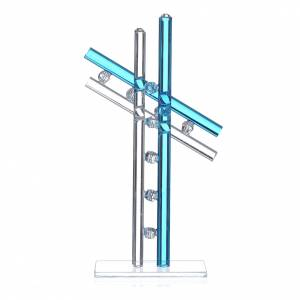 Cross Murano Glass aquamarine h. 16cm s2