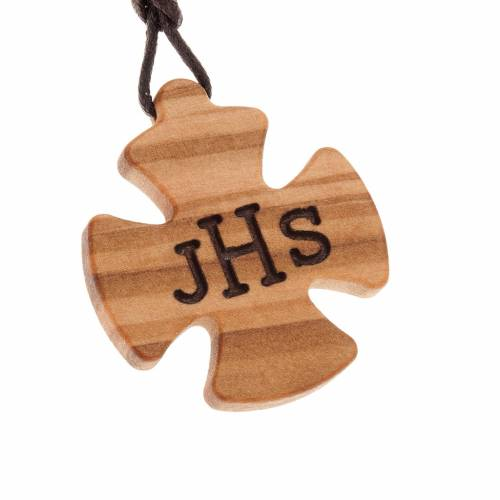 Cross pendant in olive wood with IHS s1