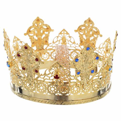 Crown in gold plated with blue and red strass s2