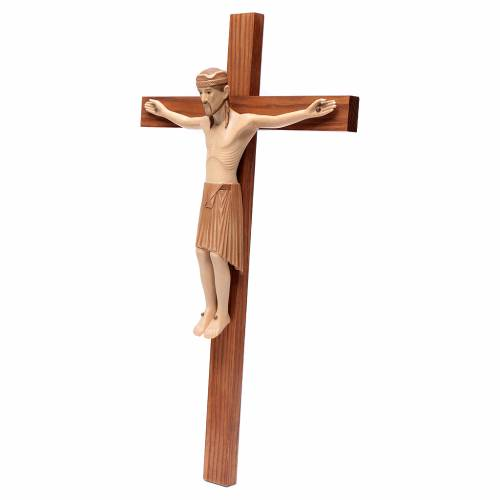 Crucifijo de Altenstadt románico, madera Valgardena varias patin s2