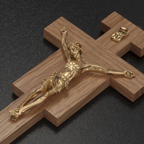 Crucifijo de madera de roble, cuerpo dorado de 20cm s3