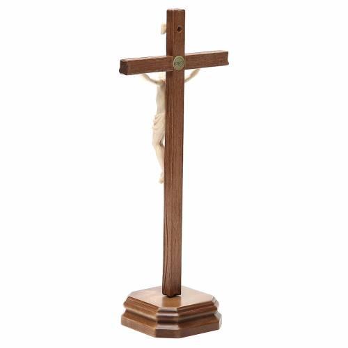 Crucifijo de mesa mod. Corpus madera Valgardena natural encerado s3