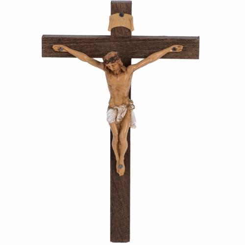 Crucifijo Fontanini cruz madera 18 x 11,5 cuerpo PVC s1