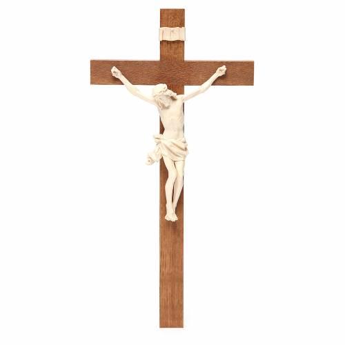 Crucifijo modelo Corpus, cruz recta madera Valgardena encerada s1
