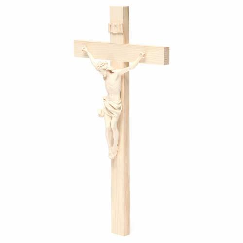 Crucifijo modelo Corpus, cruz recta madera Valgardena natural s2