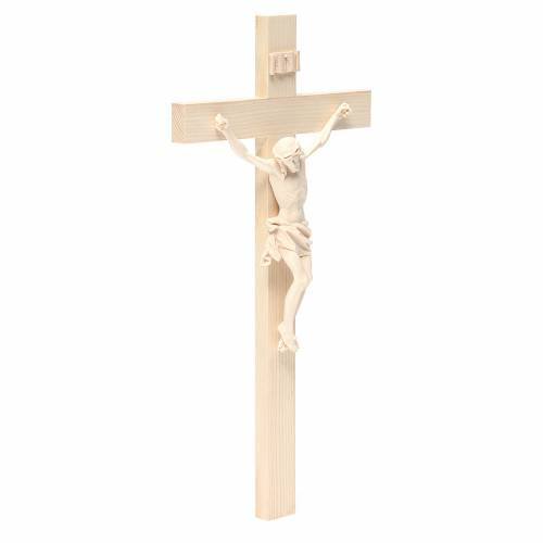 Crucifijo modelo Corpus, cruz recta madera Valgardena natural s3