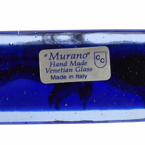 Crucifijo vidrio Murano azul cuerpo plateado s7