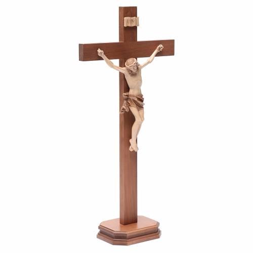 Crucifix à poser bois patiné multinuances mod. Corpus s3