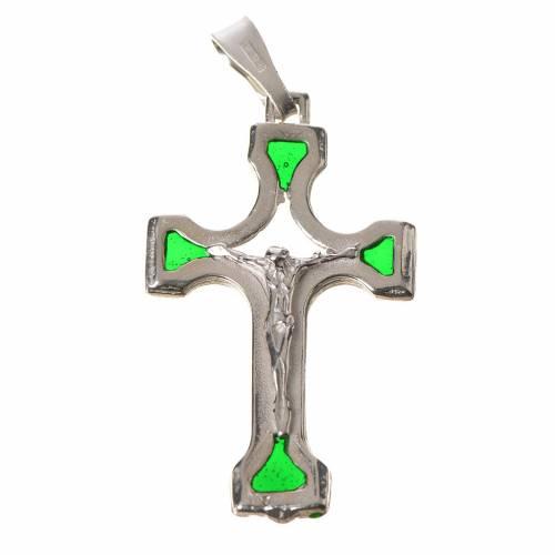 Crucifix argent 800 émail vert s1