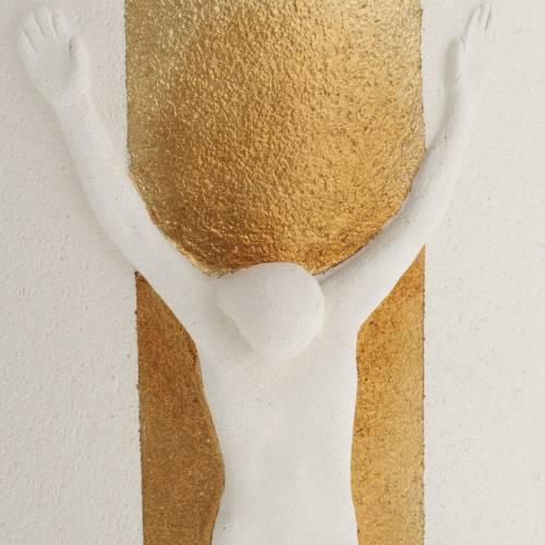 Crucifix argile blanche et or mod. Stele 29.5 cm lumière s3