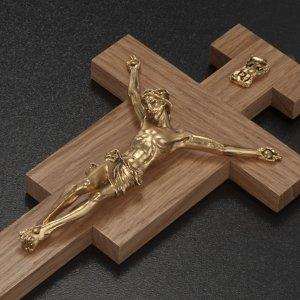 Crucifix bois de chêne, corps argenté 20 cm s3