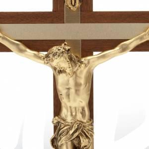 Crucifix bois de noyer métal doré aluminium s4
