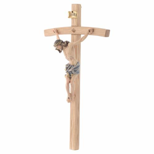 Crucifix Christ with blue vest on courved cross s2