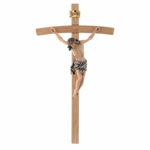 Crucifix Christ with blue vest on courved cross s1