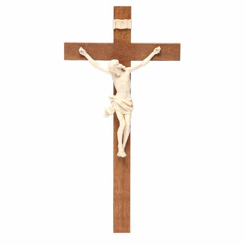 Crucifix, Corpus model, straight in natural wax Valgardena wood s1