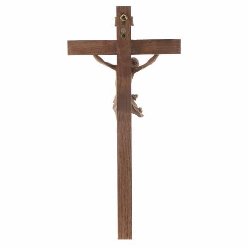 Crucifix, Corpus model, straight in patinated Valgardena wood s4