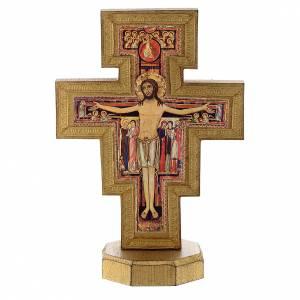 Crucifix à poser: Crucifix de St Damien avec bord doré à poser