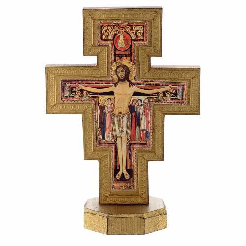 Crucifix de St Damien avec bord doré à poser s1