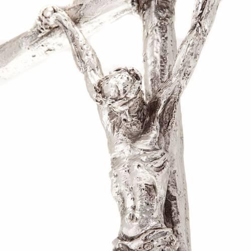 Crucifix de table image Jean Paul II avec base, métal argent&ea s2