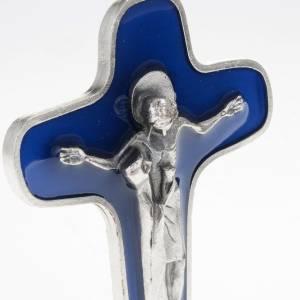 Crucifix à poser: Crucifix de table métal argenté bleu Marie avec calice