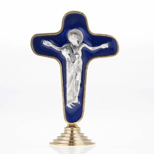 Crucifix de table métal doré bleu Marie avec calice s1