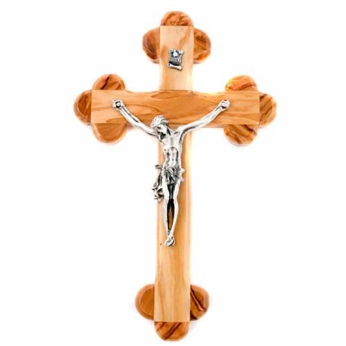 Crucifix en bois d'olivier, croix fleur s1