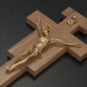 Crucifix in oak wood with golden body 20cm s3