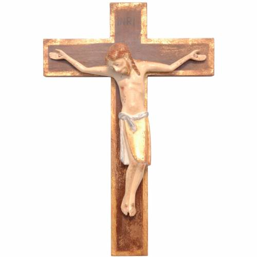 Crucifix in Romanesque style, Valgardena wood Old Antique gold s1