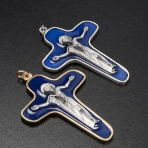 Pendentifs croix métal: Crucifix métal vernis bleu, vierge et Christ 86 mm