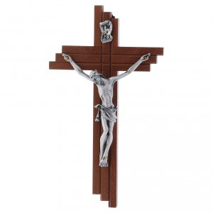 Wooden crucifixes: Crucifix modern in pear wood 16 cm with metal body