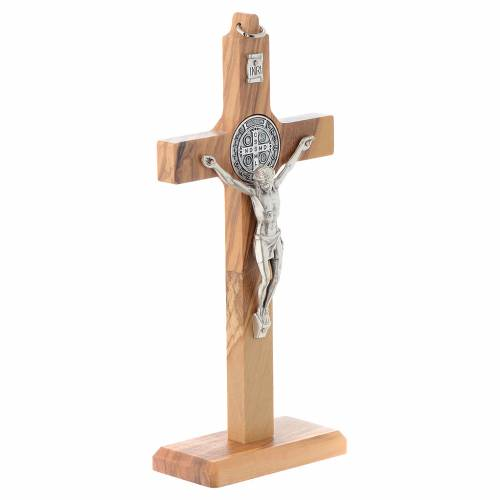 Crucifix St. Benoît bois d'olivier pour table ou mur s3